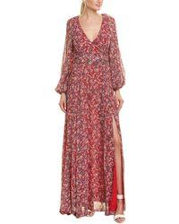 Nicholas Red Blossom Silk Wrap Dress