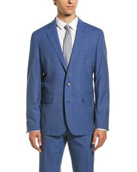 Cole Haan Wool-blend Suit With Flat Front Pant - Blue