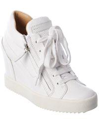 Giuseppe Zanotti Addy 75 Leather Wedge Sneaker - White