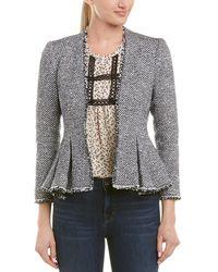 Rebecca Taylor Tweed Peplum Jacket - Gray