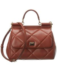 Dolce & Gabbana Sicily Leather Satchel - Brown