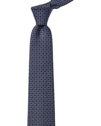 Ferragamo Marine Blue & Pearl Gancini Silk Tie