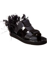 b7a5884c14734 Prada Feather-embellished Flat Slide Sandal in Black - Lyst