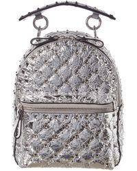 Valentino Garavani Mini Spike Laminated Leather Backpack - Metallic