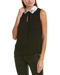 Rebecca Taylor Bird Embellished Silk Top - Black