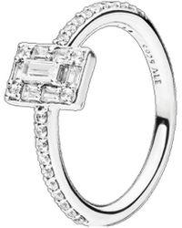 PANDORA Silver Cz Sparkling Square Halo Ring - Metallic