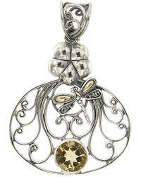 Samuel B. Jewellery 18k & Silver 1.90 Ct. Tw. Citrine Dragonfly Pendant - Metallic