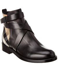 Burberry House Check Leather Bootie - Black