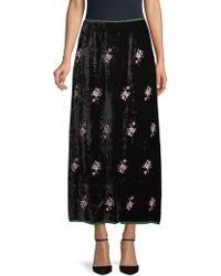Ms Min Jade Embroidered Crushed Velvet Skirt - Black