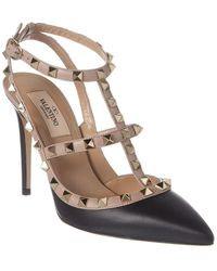 Valentino Rockstud Caged 100 Leather Ankle Strap Pump - Black