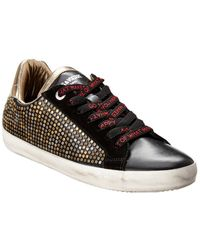 Zadig & Voltaire Ao Studs Leather Trainer - Black