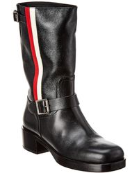 Dior Side Stripe Leather Boot - Black