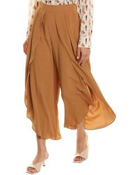 Marella Primo Silk-blend Long Trouser - Brown