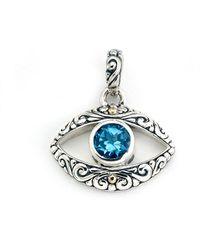 Samuel B. 18k & Silver Blue Topaz Evil Eye Pendant