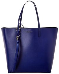 Alexander McQueen Skull Leather Tote - Blue