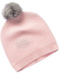 Phenix Cashmere Pink Honeycomb Knit Hat