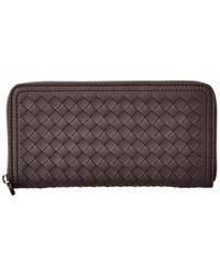 Bottega Veneta Intrecciato Leather Zip Around Wallet - Brown