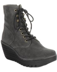 Fly London Ygot Suede Wedge Bootie - Black