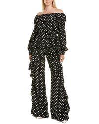 Michael Kors Off-the-shoulder Silk Jumpsuit - Black