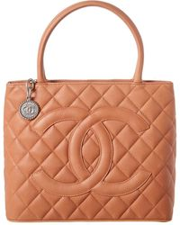 Chanel Peach Quilted Caviar Leather Medallion Tote - Multicolor