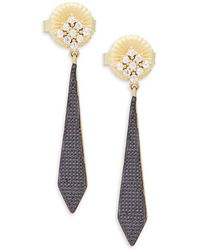 Freida Rothman - Crystal And Sterling Silver Pavé Armour Drop Earrings - Lyst