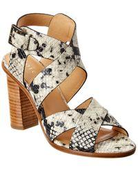Joie Avery Snake-embossed Leather Sandal - White