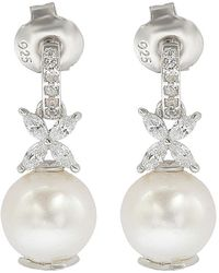 Suzy Levian Silver Sapphire & 8mm Pearl Earrings - Metallic