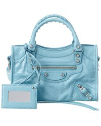Balenciaga Classic City Mini Leather Crossbody - Blue