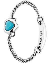 PANDORA Silver & Cyan Blue Crystal Spirited Heart Ring - Metallic