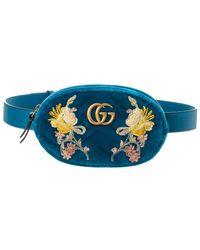 Gucci GG Marmont Velvet Belt Bag - Blue