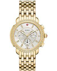 Michele 38mm Sidney Diamond Chronograph Watch, Gold - Metallic