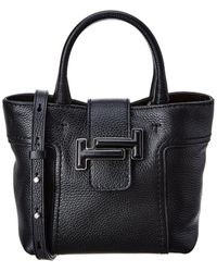 Tod's Double T Mini Leather Tote - Black