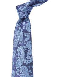 Ike Behar Navy Paisley Silk Tie - Blue
