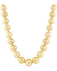Splendid 14k 10-13mm Golden South Sea Pearl Necklace - Metallic