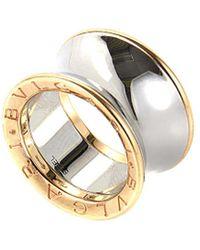 BVLGARI Bulgari 18k Rose Gold & Stainless Steel Ring - Metallic