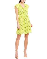 Cece by Cynthia Steffe Posh Bouquet Pintuck Short Sleeve Minidress - Yellow
