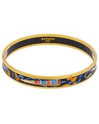 Hermès Gold-tone Black Enamel Narrow Clic-clac H Bracelet - Metallic