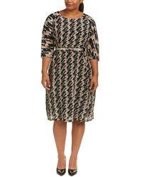 Marina Rinaldi Plus Silk Shift Dress - Natural