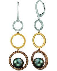 Le Vian ? Chocolatier? 14k Tri-tone 0.84 Ct. Tw. Diamond 8-9mm Pearl Earrings - Metallic