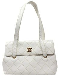 Chanel White Quilted Lambskin Leather Wild Stitched Cc Single Flap Shoulder Bag