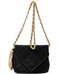 Chanel Black Satin Cc Envelope Tassel Bag