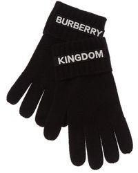 Burberry Kingdom Logo Applique Cashmere Gloves - Black