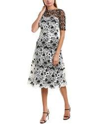 Teri Jon Bateau-neck Elbow-sleeve Floral Lace Dress W/ Twin Lace Yoke - Black