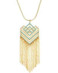 Noir Jewelry Geometric Resin Pendant Necklace - Metallic