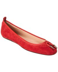Tod's Suede Ballerina Flat - Red