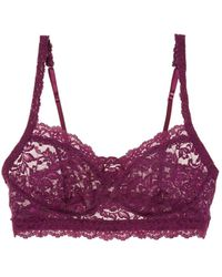 Hanky Panky Retro Stretch-lace Soft-cup Bra - Purple