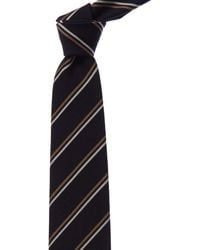 Brioni Navy & Brown Stripe Wool & Silk-blend Tie - Blue