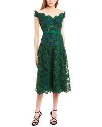 Self-Portrait Off-the-shoulder Lace Midi Dress - Green