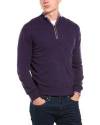 Greyson Sebonack Wool & Cashmere-blend 1/2-zip Mock Sweater - Purple