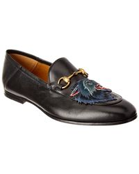 Gucci Brixton Angry Wolf Applique Leather Loafer - Multicolour